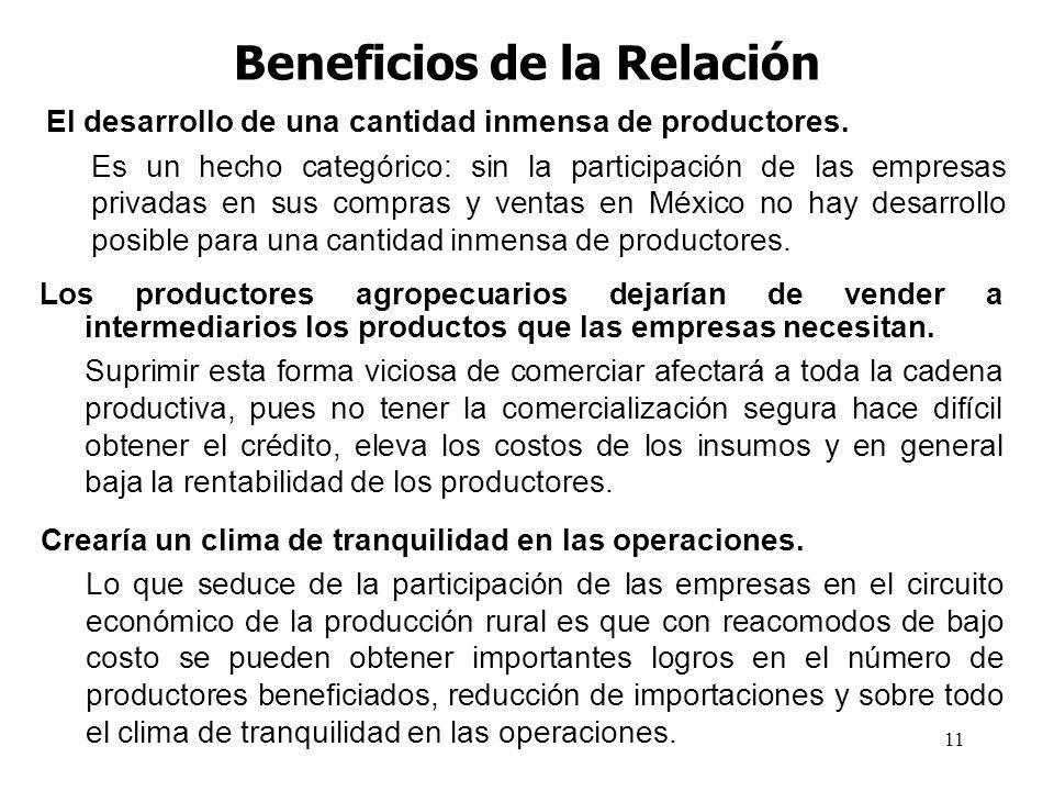 11 Beneficios de la Relación El desarrollo de una cantidad inmensa de productores. Es un hecho categórico: sin la participación de las empresas privad