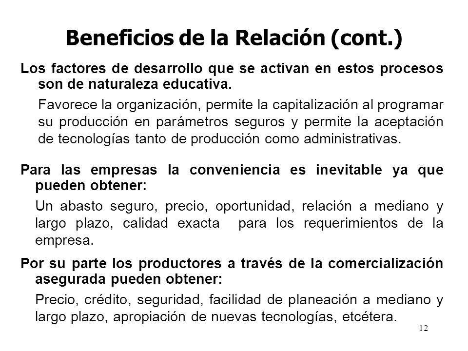 12 Beneficios de la Relación (cont.) Los factores de desarrollo que se activan en estos procesos son de naturaleza educativa. Favorece la organización