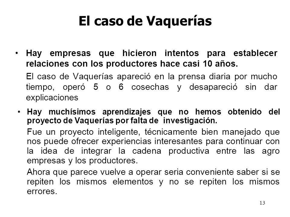 13 El caso de Vaquerías Hay empresas que hicieron intentos para establecer relaciones con los productores hace casi 10 años. El caso de Vaquerías apar