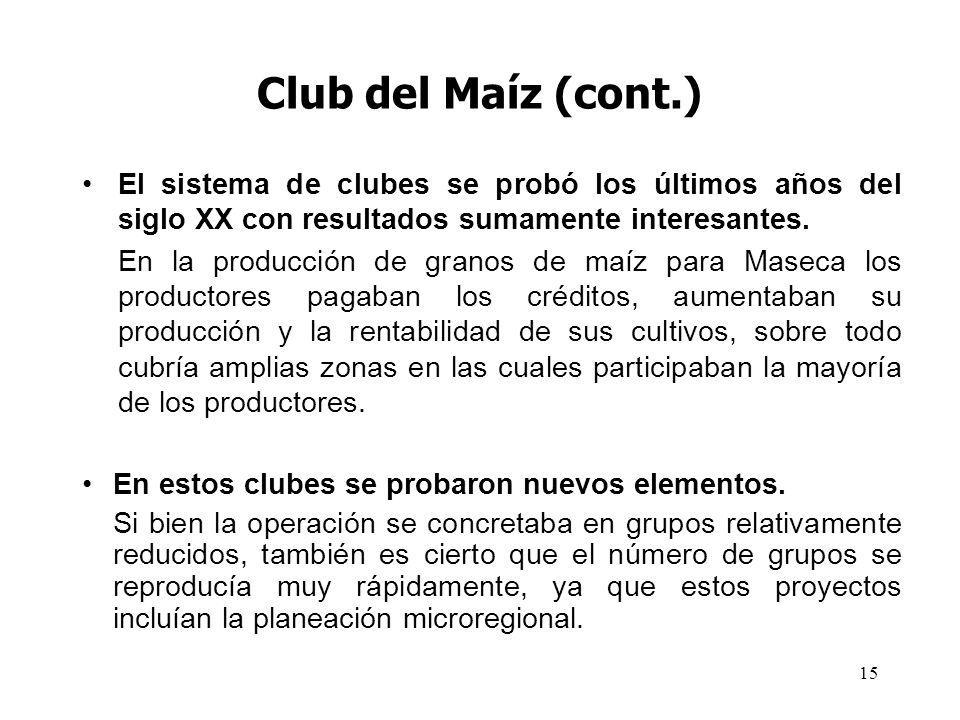 15 Club del Maíz (cont.) El sistema de clubes se probó los últimos años del siglo XX con resultados sumamente interesantes. En la producción de granos