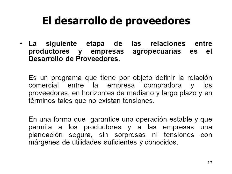 17 El desarrollo de proveedores La siguiente etapa de las relaciones entre productores y empresas agropecuarias es el Desarrollo de Proveedores. Es un