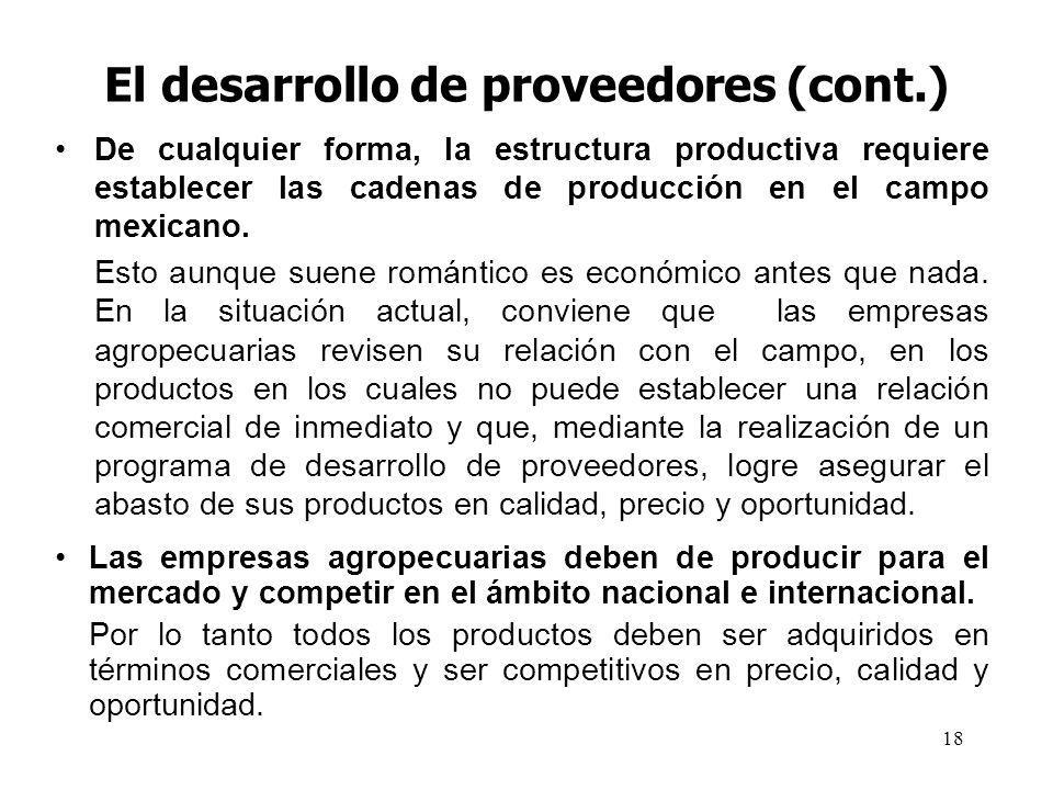 18 El desarrollo de proveedores (cont.) De cualquier forma, la estructura productiva requiere establecer las cadenas de producción en el campo mexicano.