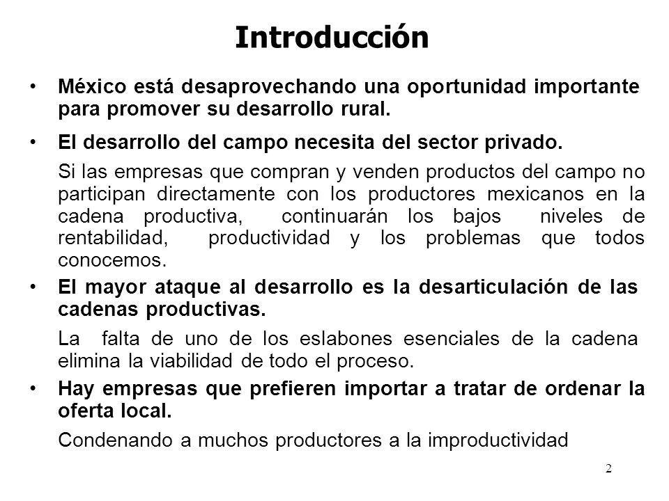 2 Introducción México está desaprovechando una oportunidad importante para promover su desarrollo rural. El desarrollo del campo necesita del sector p