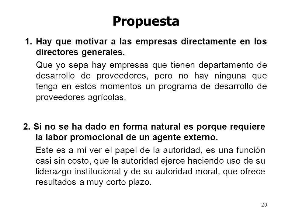 20 Propuesta 1.Hay que motivar a las empresas directamente en los directores generales.