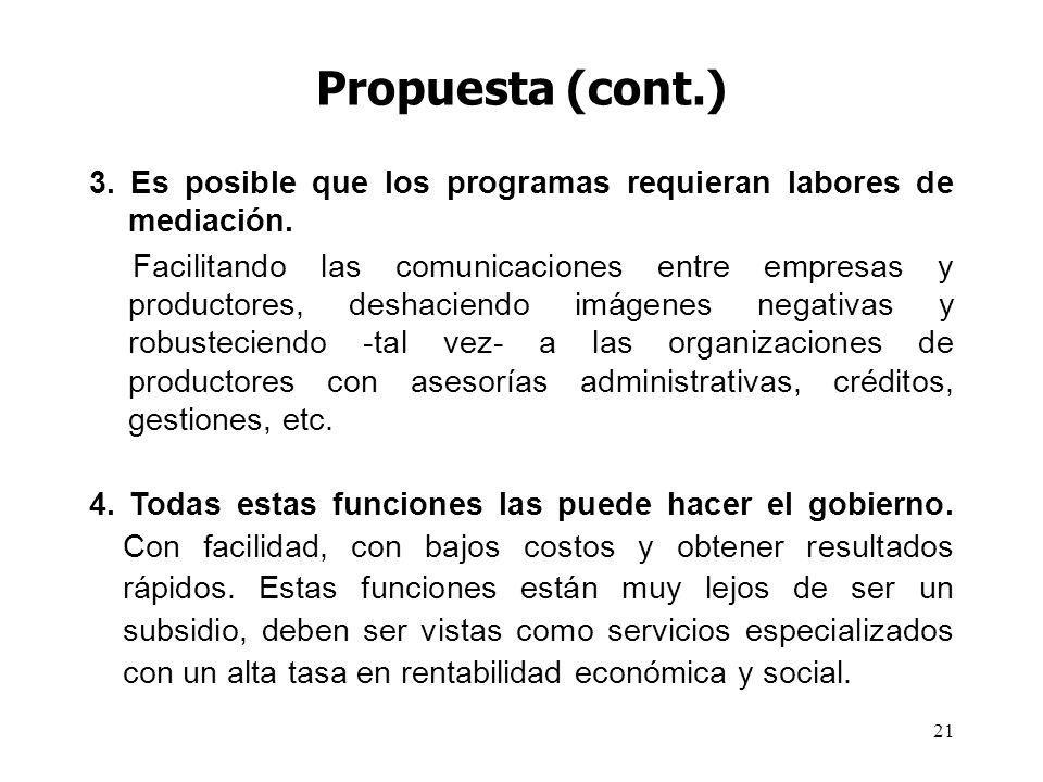 21 Propuesta (cont.) 3. Es posible que los programas requieran labores de mediación. Facilitando las comunicaciones entre empresas y productores, desh