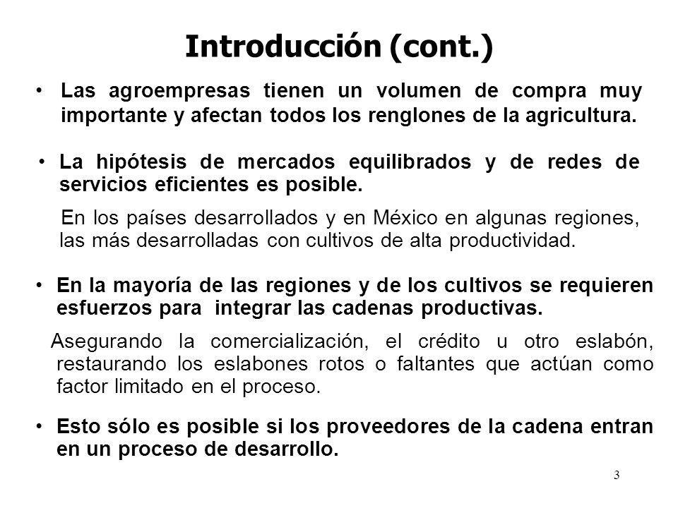 3 Introducción (cont.) Las agroempresas tienen un volumen de compra muy importante y afectan todos los renglones de la agricultura. La hipótesis de me