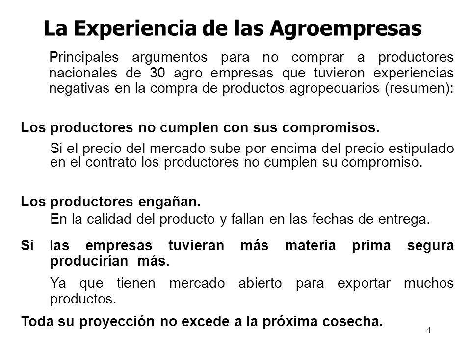 4 La Experiencia de las Agroempresas Principales argumentos para no comprar a productores nacionales de 30 agro empresas que tuvieron experiencias negativas en la compra de productos agropecuarios (resumen): Los productores no cumplen con sus compromisos.
