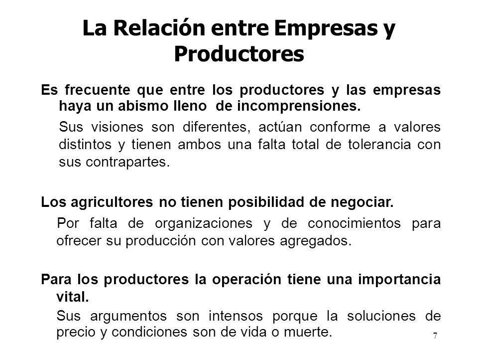 7 La Relación entre Empresas y Productores Es frecuente que entre los productores y las empresas haya un abismo lleno de incomprensiones. Sus visiones