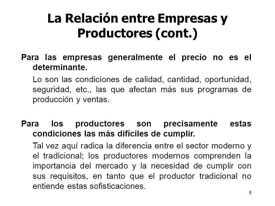 8 La Relación entre Empresas y Productores (cont.) Para las empresas generalmente el precio no es el determinante. Lo son las condiciones de calidad,
