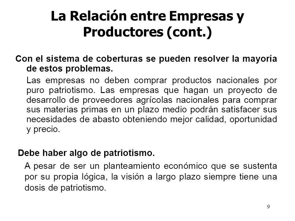 9 La Relación entre Empresas y Productores (cont.) Con el sistema de coberturas se pueden resolver la mayoría de estos problemas. Las empresas no debe