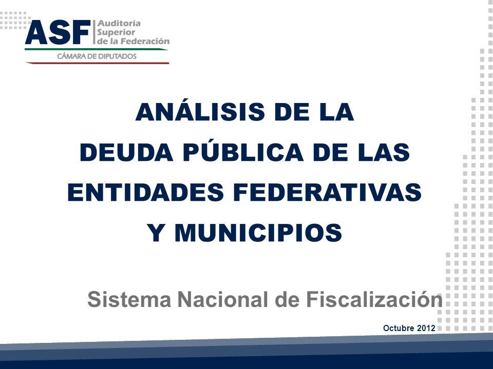 ANÁLISIS DE LA DEUDA PÚBLICA DE LAS ENTIDADES FEDERATIVAS Y MUNICIPIOS Sistema Nacional de Fiscalización Octubre 2012