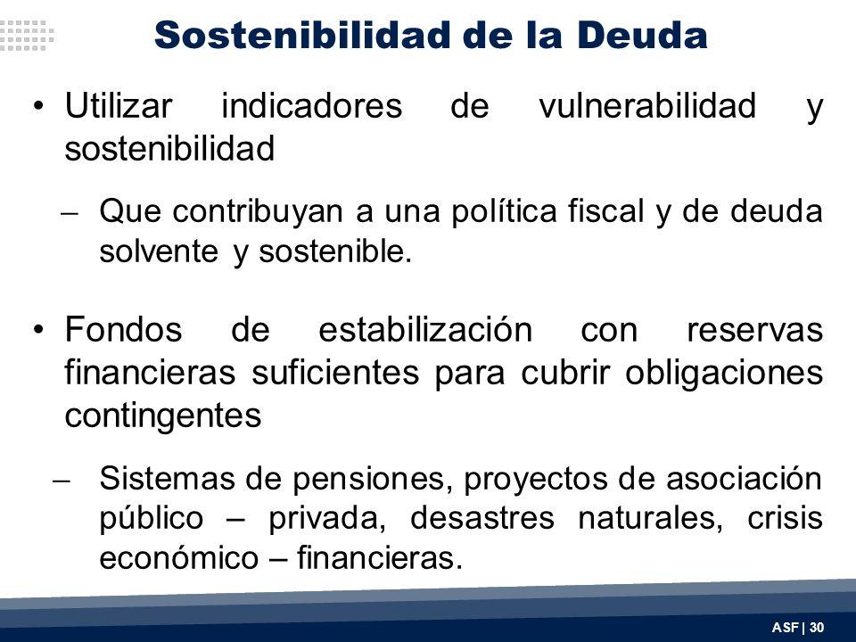 Utilizar indicadores de vulnerabilidad y sostenibilidad ̶ Que contribuyan a una política fiscal y de deuda solvente y sostenible.