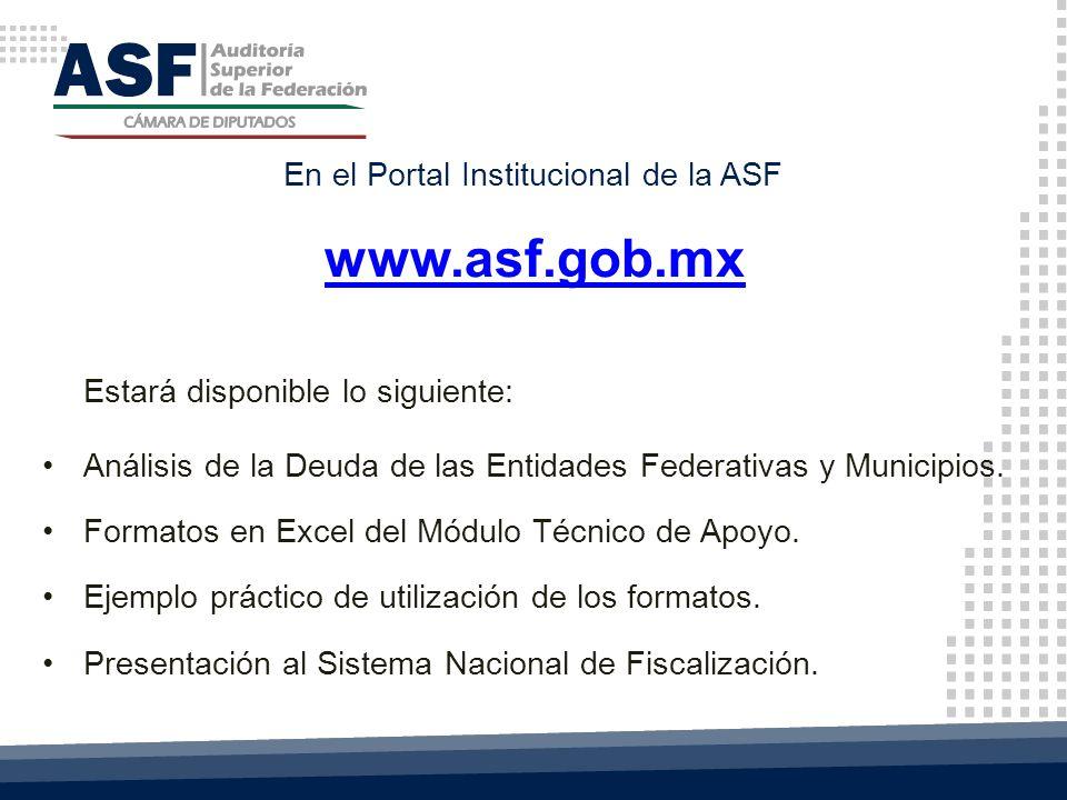www.asf.gob.mx Estará disponible lo siguiente: Análisis de la Deuda de las Entidades Federativas y Municipios.