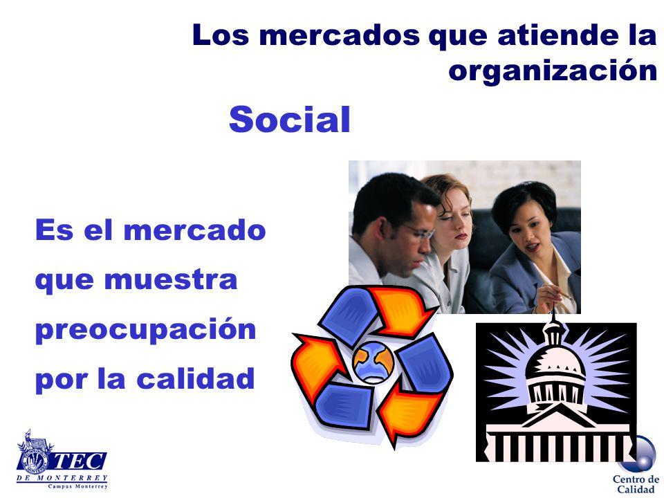 Capital Es el mercado que exige rentabilidad de la empresa Los mercados que atiende la organización