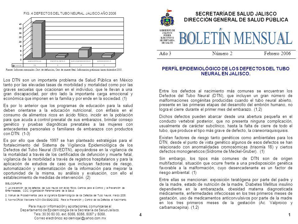14 SECRETARÍA DE SALUD JALISCO DIRECCIÓN GENERAL DE SALUD PÚBLICA Año 3 Número 2 Febrero 2006 GOBIERNO DE JALISCO PODER EJECUTIVO SECRETARÍA DE SALUD PERFÍL EPIDEMIOLÓGICO DE LOS DEFECTOS DEL TUBO NEURAL EN JALISCO.