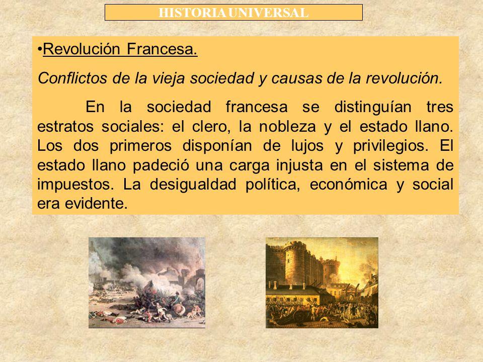 HISTORIA UNIVERSAL Revolución Francesa. Conflictos de la vieja sociedad y causas de la revolución.