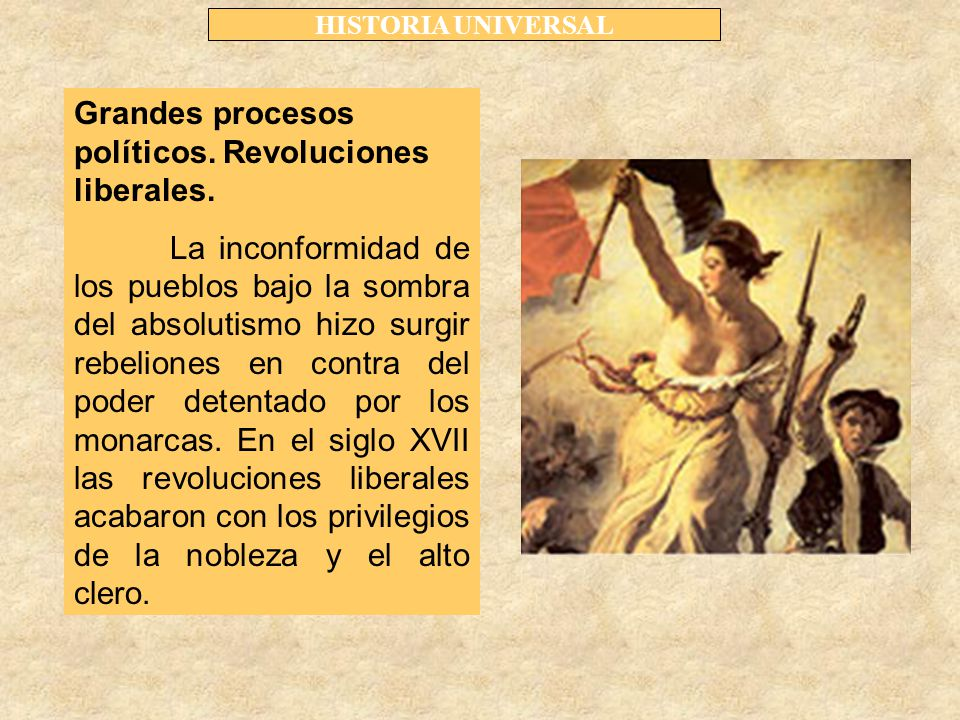 Grandes procesos políticos. Revoluciones liberales.