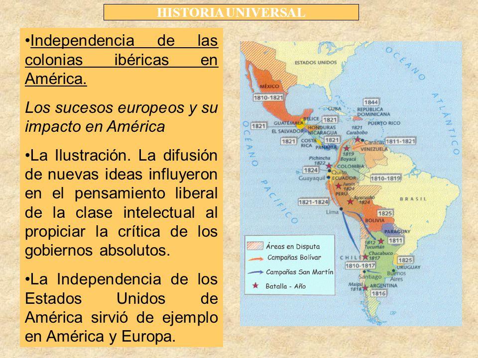HISTORIA UNIVERSAL Independencia de las colonias ibéricas en América.