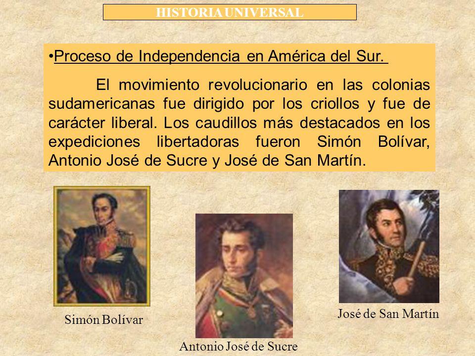 HISTORIA UNIVERSAL Proceso de Independencia en América del Sur.