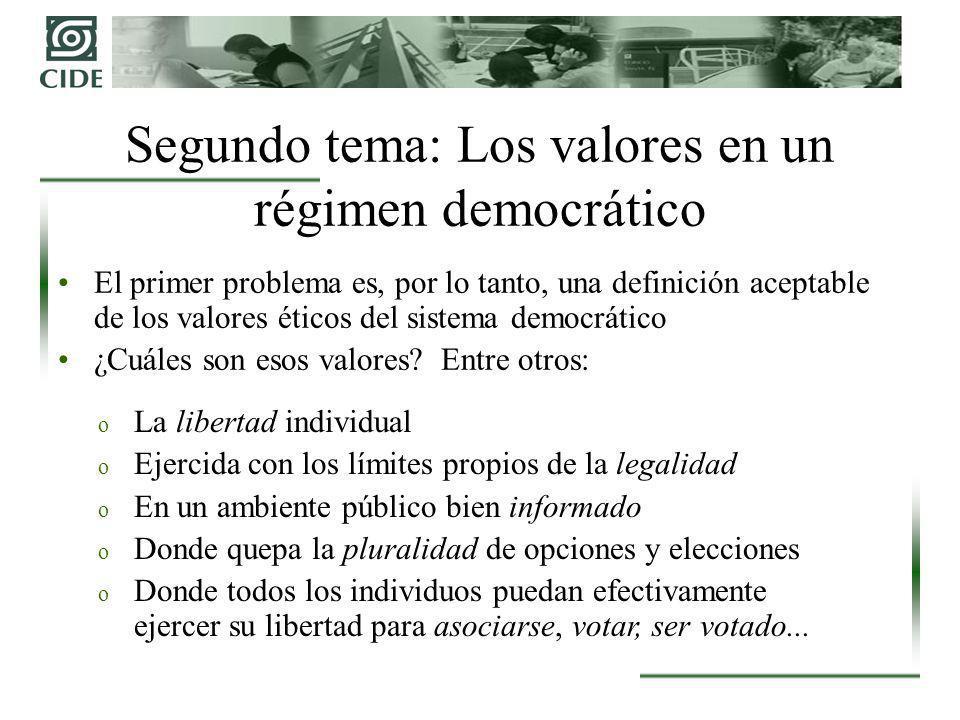 El primer problema es, por lo tanto, una definición aceptable de los valores éticos del sistema democrático ¿Cuáles son esos valores? Entre otros: Seg