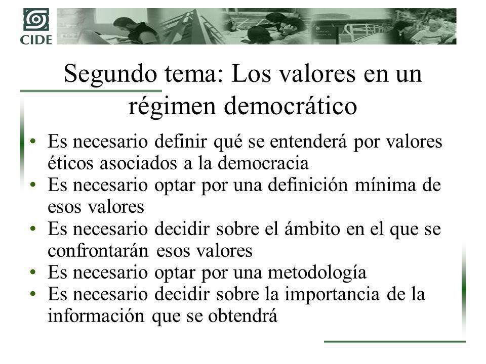 Es necesario definir qué se entenderá por valores éticos asociados a la democracia Es necesario optar por una definición mínima de esos valores Es nec