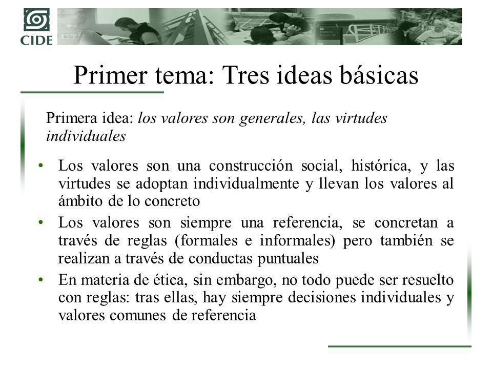 Primer tema: Tres ideas básicas Primera idea: los valores son generales, las virtudes individuales Los valores son una construcción social, histórica,