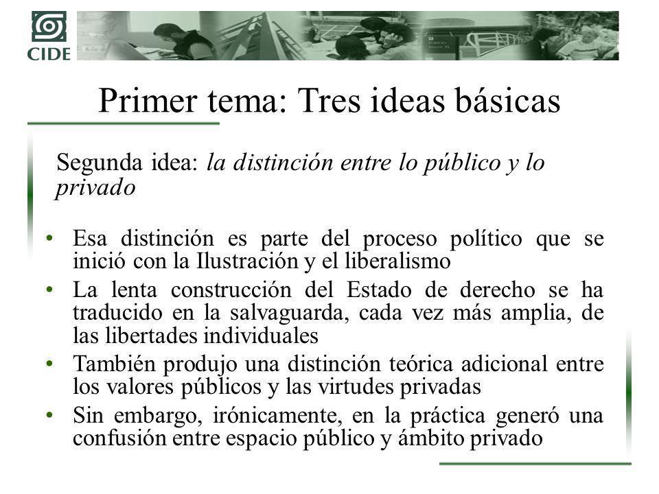 Segunda idea: la distinción entre lo público y lo privado Esa distinción es parte del proceso político que se inició con la Ilustración y el liberalis