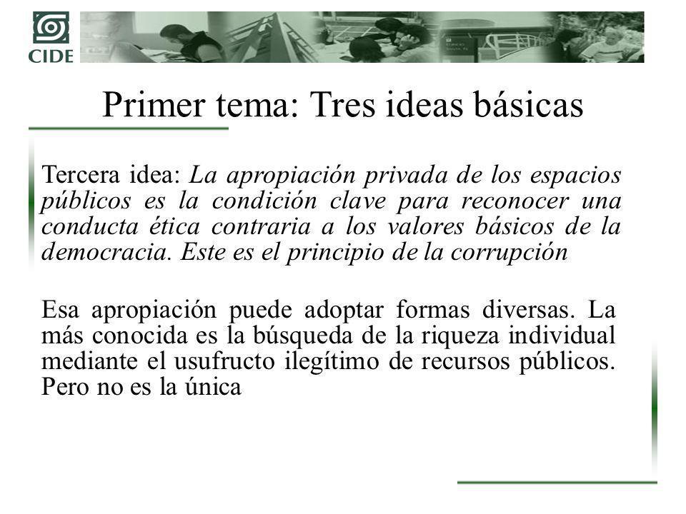 Tercera idea: La apropiación privada de los espacios públicos es la condición clave para reconocer una conducta ética contraria a los valores básicos de la democracia.