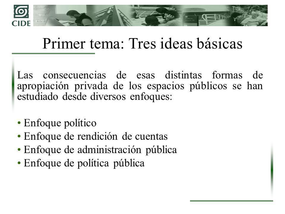 Las consecuencias de esas distintas formas de apropiación privada de los espacios públicos se han estudiado desde diversos enfoques: Enfoque político Enfoque de rendición de cuentas Enfoque de administración pública Enfoque de política pública Primer tema: Tres ideas básicas