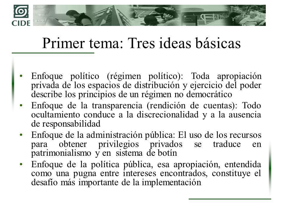 Enfoque político (régimen político): Toda apropiación privada de los espacios de distribución y ejercicio del poder describe los principios de un régi