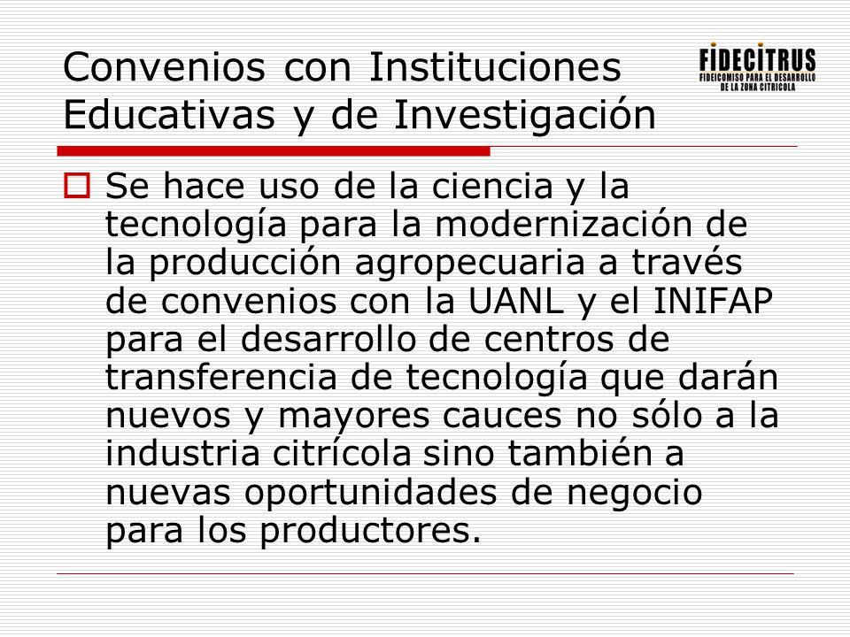 Convenios con Instituciones Educativas y de Investigación Se hace uso de la ciencia y la tecnología para la modernización de la producción agropecuari