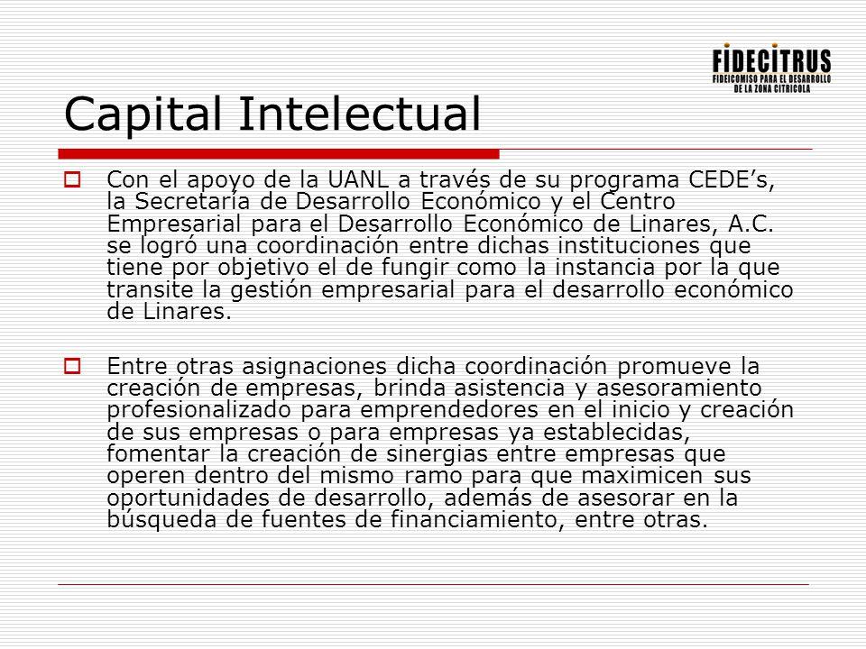 Capital Intelectual Con el apoyo de la UANL a través de su programa CEDEs, la Secretaría de Desarrollo Económico y el Centro Empresarial para el Desar