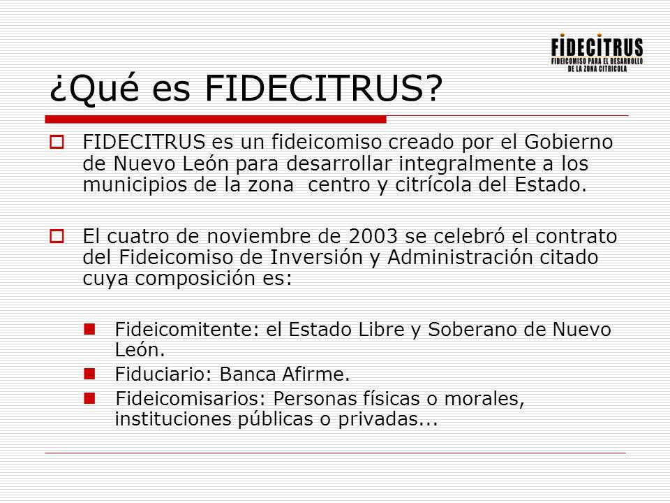 ¿Qué es FIDECITRUS? FIDECITRUS es un fideicomiso creado por el Gobierno de Nuevo León para desarrollar integralmente a los municipios de la zona centr