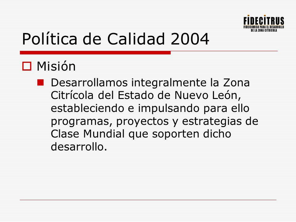 Política de Calidad 2004 Misión Desarrollamos integralmente la Zona Citrícola del Estado de Nuevo León, estableciendo e impulsando para ello programas