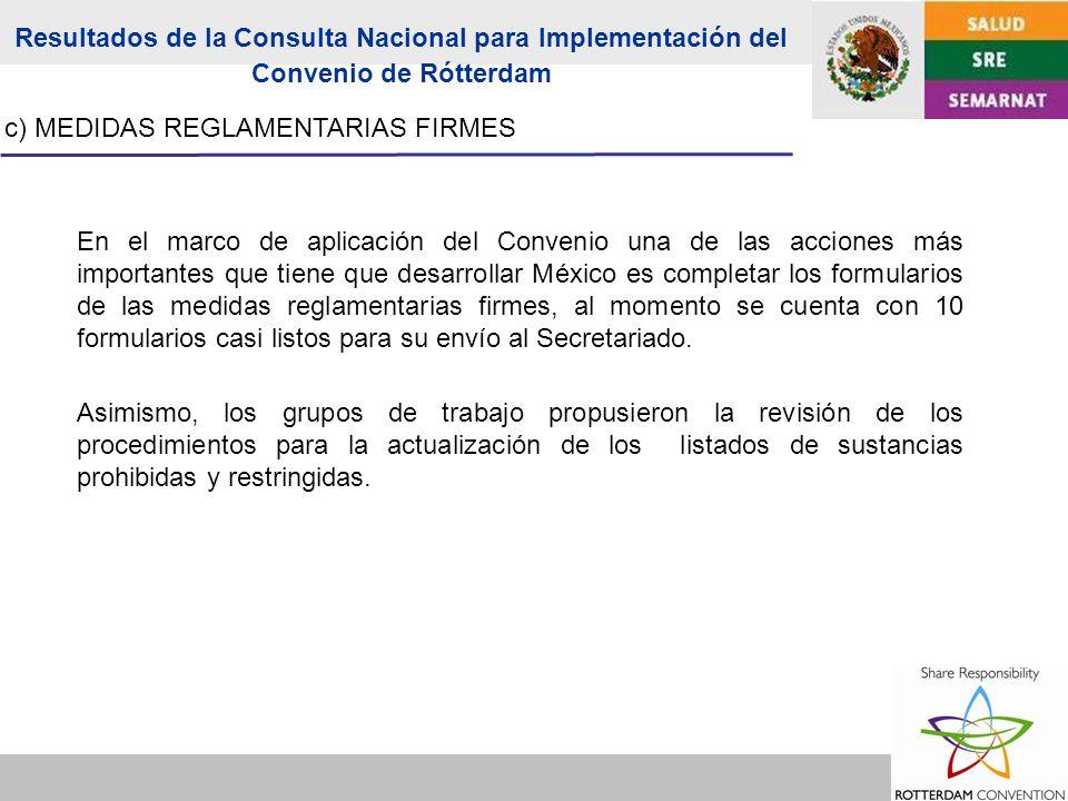 c) MEDIDAS REGLAMENTARIAS FIRMES En el marco de aplicación del Convenio una de las acciones más importantes que tiene que desarrollar México es completar los formularios de las medidas reglamentarias firmes, al momento se cuenta con 10 formularios casi listos para su envío al Secretariado.