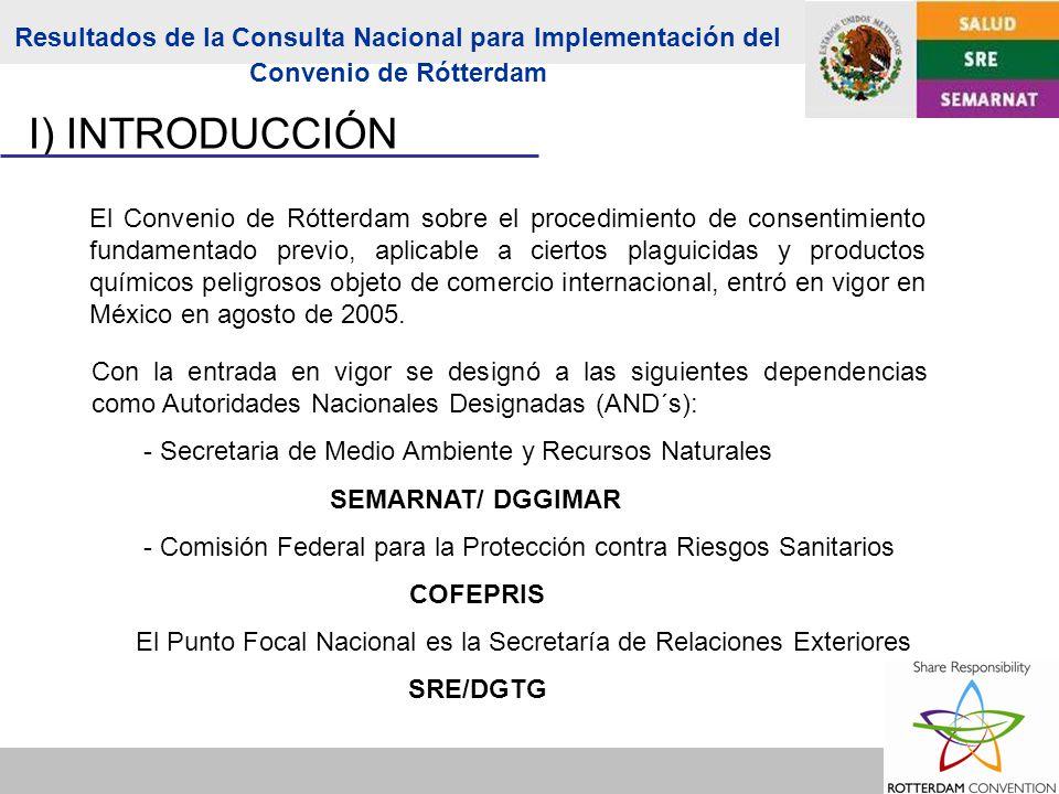 El Convenio de Rótterdam sobre el procedimiento de consentimiento fundamentado previo, aplicable a ciertos plaguicidas y productos químicos peligrosos objeto de comercio internacional, entró en vigor en México en agosto de 2005.