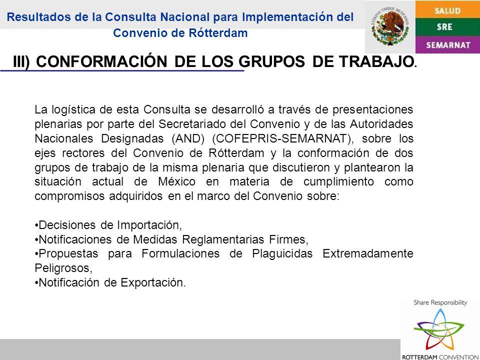 La logística de esta Consulta se desarrolló a través de presentaciones plenarias por parte del Secretariado del Convenio y de las Autoridades Nacionales Designadas (AND) (COFEPRIS-SEMARNAT), sobre los ejes rectores del Convenio de Rótterdam y la conformación de dos grupos de trabajo de la misma plenaria que discutieron y plantearon la situación actual de México en materia de cumplimiento como compromisos adquiridos en el marco del Convenio sobre: Decisiones de Importación, Notificaciones de Medidas Reglamentarias Firmes, Propuestas para Formulaciones de Plaguicidas Extremadamente Peligrosos, Notificación de Exportación.