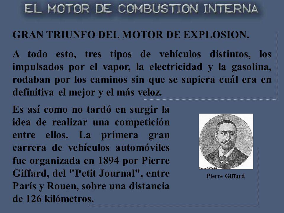 GRAN TRIUNFO DEL MOTOR DE EXPLOSION. A todo esto, tres tipos de vehículos distintos, los impulsados por el vapor, la electricidad y la gasolina, rodab
