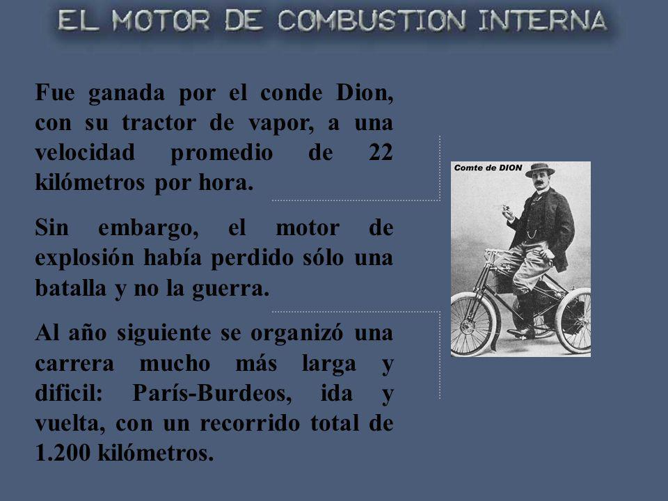 Fue ganada por el conde Dion, con su tractor de vapor, a una velocidad promedio de 22 kilómetros por hora. Sin embargo, el motor de explosión había pe
