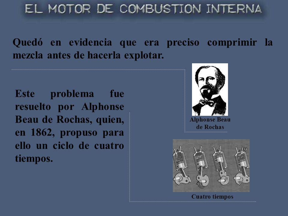 Este problema fue resuelto por Alphonse Beau de Rochas, quien, en 1862, propuso para ello un ciclo de cuatro tiempos. Cuatro tiempos Alphonse Beau de