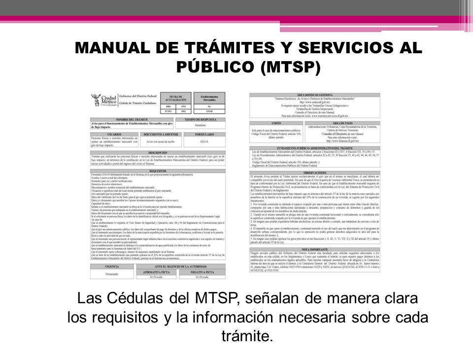 MANUAL DE TRÁMITES Y SERVICIOS AL PÚBLICO (MTSP) Las Cédulas del MTSP, señalan de manera clara los requisitos y la información necesaria sobre cada tr