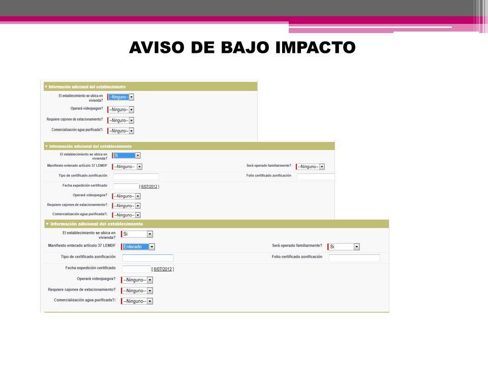 AVISO DE BAJO IMPACTO