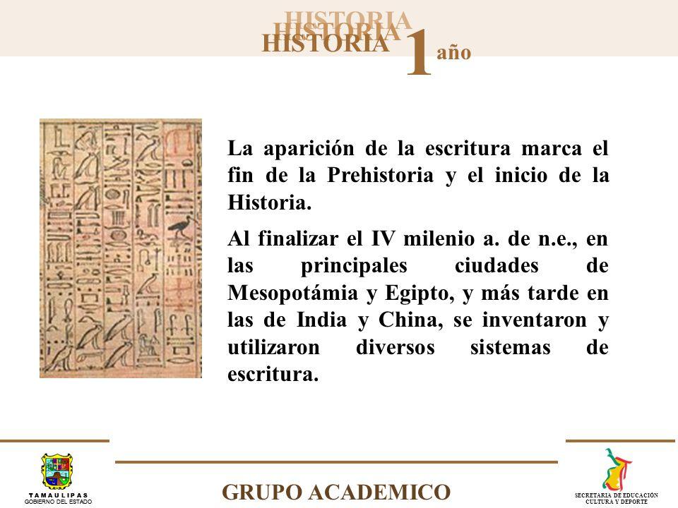 HISTORIA 1 año GRUPO ACADEMICO T A M A U L I P A S GOBIERNO DEL ESTADO SECRETARIA DE EDUCACIÓN CULTURA Y DEPORTE Escritura jeroglífica.