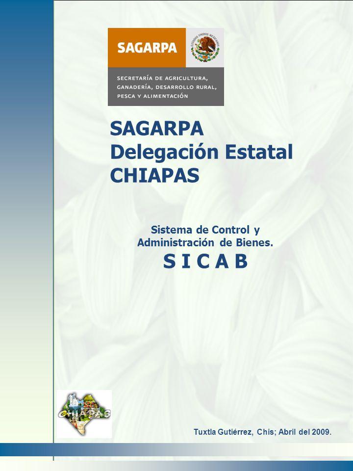 Sistema de Control y Administración de Bienes. S I C A B SAGARPA Delegación Estatal CHIAPAS Tuxtla Gutiérrez, Chis; Abril del 2009.