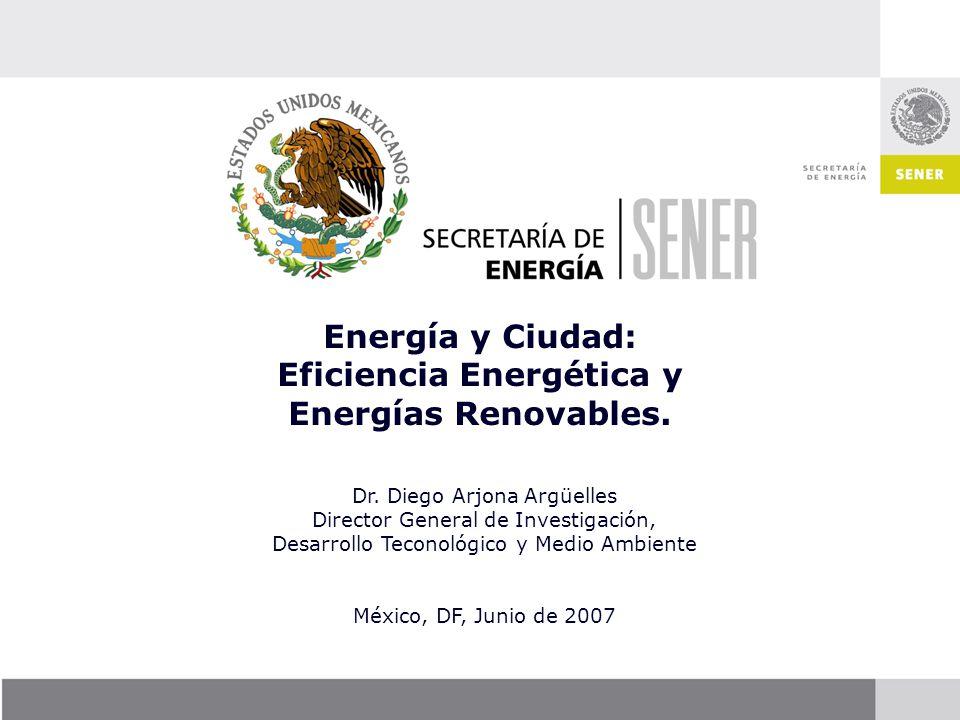 Dr. Diego Arjona Argüelles Director General de Investigación, Desarrollo Teconológico y Medio Ambiente México, DF, Junio de 2007 Energía y Ciudad: Efi