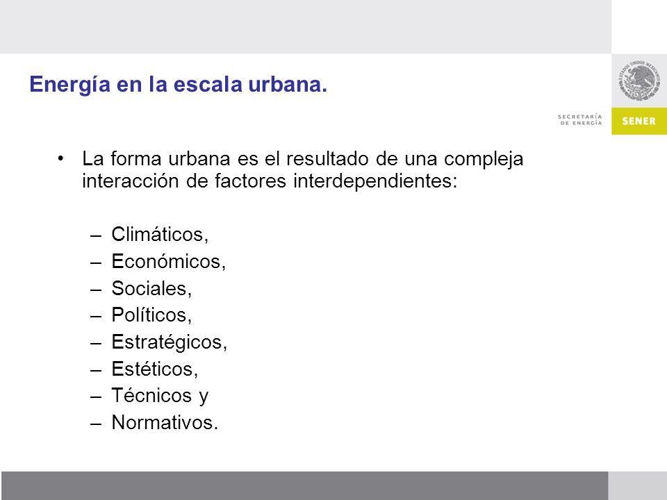 Energía en la escala urbana. La forma urbana es el resultado de una compleja interacción de factores interdependientes: –Climáticos, –Económicos, –Soc