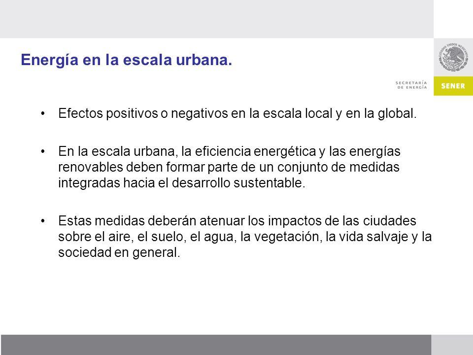 Energía en la escala urbana. Efectos positivos o negativos en la escala local y en la global. En la escala urbana, la eficiencia energética y las ener