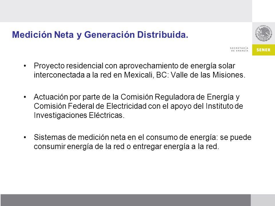 Medición Neta y Generación Distribuida. Proyecto residencial con aprovechamiento de energía solar interconectada a la red en Mexicali, BC: Valle de la