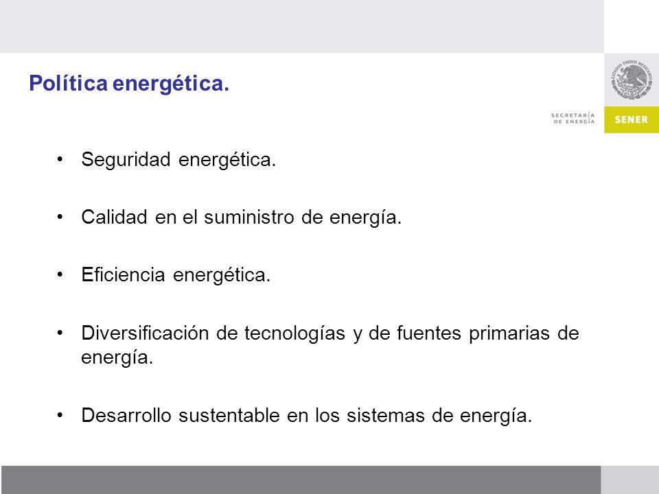 Política energética. Seguridad energética. Calidad en el suministro de energía. Eficiencia energética. Diversificación de tecnologías y de fuentes pri