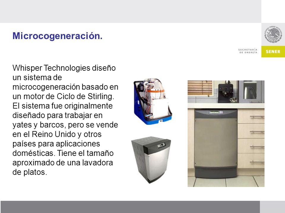 Microcogeneración. Whisper Technologies diseño un sistema de microcogeneración basado en un motor de Ciclo de Stirling. El sistema fue originalmente d